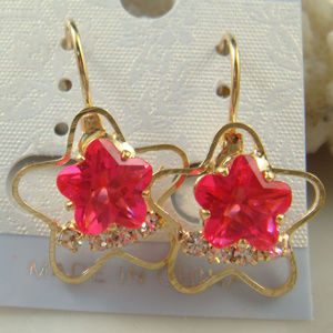Gold Plated pink Czech Crystal star Earrings